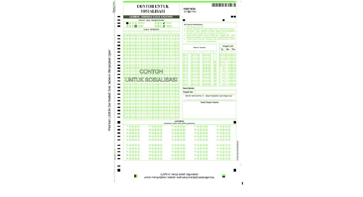 Contoh Ljk Untuk Sosialisasi Pada Ujian Nasional Tahun 2013 Syarifuddin Daeng Rate Guru